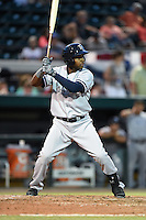 Tampa Yankees outfielder Ericson Leonora (20) at bat during a game against the Lakeland Flying Tigers on April 9, 2015 at Joker Marchant Stadium in Lakeland, Florida.  Tampa defeated Lakeland 2-0.  (Mike Janes/Four Seam Images)