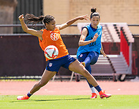 HOUSTON, TX - JUNE 8: Margaret Purce #20 defends Christen Press #23 of the USWNT during a training session at the University of Houston on June 8, 2021 in Houston, Texas.