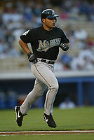 Ivan Rodriguez of the Florida Marlins during a 2003 season MLB game at Dodger Stadium in Los Angeles, California. (Larry Goren/Four Seam Images)