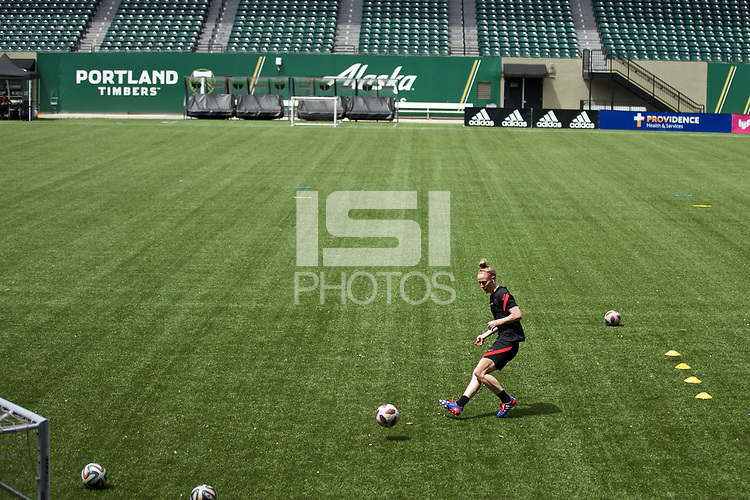 PORTLAND, OR - MAY 09: Becky Sauerbrunn #4 of the Portland Thorns trains individually for the first time since the COVID-19 outbreak at Providence Park on May 09, 2020 in Portland, Oregon.