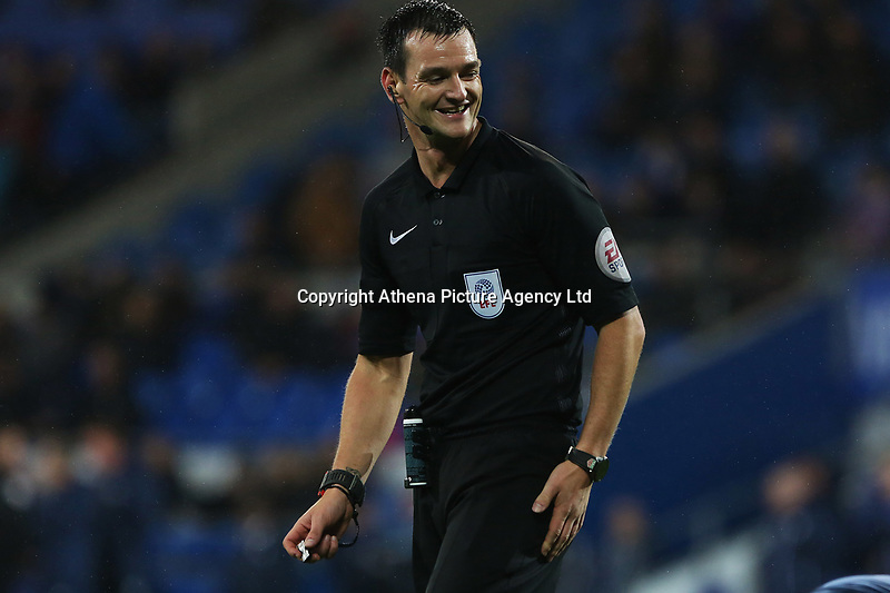 referee Andy Madley during the Sky Bet Championship match between Cardiff City and Brentford at the Cardiff City Stadium, Wales, UK. Saturday 18 November 2017