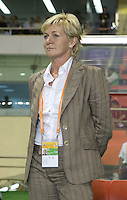 German head coach Silvia Neid stands on the sidelines during introductions. Germany (GER) defeated Argentina (ARG) 11-0 during an opening round Group A match of the FIFA Women's World Cup China 2007 at Shanghai Kongkou Football Stadium, Shanghai, China, on September 10, 2007.