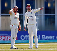 Lancashire captain Dane Vilas (R) in discussion with Danny Lamb during Kent CCC vs Lancashire CCC, LV Insurance County Championship Group 3 Cricket at The Spitfire Ground on 24th April 2021