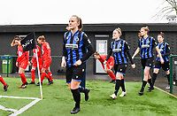 illustration picture showing both teams with Elle Decorte (7) of Club Brugge entering the pitch during a female soccer game between Club Brugge Dames YLA and White Star Woluwe on the 12 th matchday of the 2020 - 2021 season of Belgian Scooore Womens Super League , saturday 30 January 2021  in Brugge , Belgium . PHOTO SPORTPIX.BE | SPP | DAVID CATRY