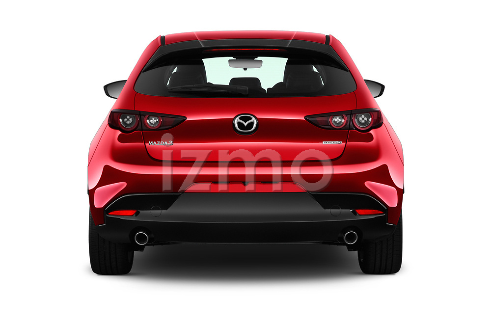 Straight rear view of a 2019 Mazda Mazda-3 Style 5 Door Hatchback stock images
