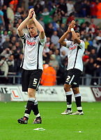 ATTENTION SPORTS PICTURE DESK<br /> Pictured: Alan Tate and Ashley Williams of Swansea City <br /> Re: Coca Cola Championship, Swansea City Football Club v Cardiff City FC at the Liberty Stadium, Swansea, south Wales. Saturday 07 November 2009