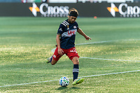 FOXBOROUGH, MA - SEPTEMBER 23: Lee Nguyen #42 of New England Revolution passes the ball during a game between Montreal Impact and New England Revolution at Gillette Stadium on September 23, 2020 in Foxborough, Massachusetts.