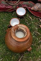 Peru, Urubamba Valley, Quechua Village of Misminay.  Chicha, a Beer Made from Corn (Maize).
