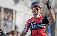 race winner Greg Van Avermaet (BEL/BMC) crossing the finish line of the 60th E3 Harelbeke (1.UWT)<br /> <br /> 1day race: Harelbeke › Harelbeke - BEL (206km)