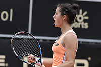 BOGOTA -COLOMBIA. 13-04-2017. Lara Arruabarrena (ESP) durante juego contra Alesksandra Krunic (SRB) de segunda ronda del Claro Open Colsanitas WTA 2017 jugado en el Club Los Lagartos en Bogota. /  Lara Arruabarrena (ESP) during match against Alesksandra Krunic (SRB) for the second round round of Claro Open Colsanitas WTA 2017 played at Club Los Lagartos in Bogota city. Photo: VizzorImage/ Gabriel Aponte / Staff