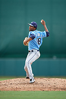 Tampa Bay Rays pitcher Wanderson Linares (88) delivers a pitch during an Instructional League game against the Baltimore Orioles on October 5, 2017 at Ed Smith Stadium in Sarasota, Florida.  (Mike Janes/Four Seam Images)