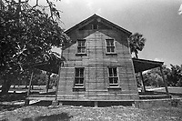 Exterior view, The Founder's House, built in 1896, Koreshan State Park, Koreshan Unity Settlement Historic site, Estero, FL  July 2018. Shot with a Canon EOS 650 35mm SLR camera on Kodak T-Max 400 film. (Photo by Brian Cleary/ www.bcpix.com )