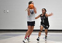Fayetteville's Whitney Brown (2) covers Greenwood's Anna Trusty (3), Thursday, June 10, 2021 during a basketball game at Rogers High School in Rogers. Check out nwaonline.com/210611Daily/ for today's photo gallery. <br /> (NWA Democrat-Gazette/Charlie Kaijo)