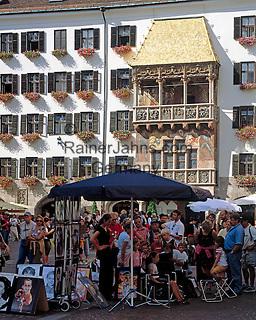 Austria, Tyrol, Innsbruck: Old Town, Goldenes Dachl and portrayer