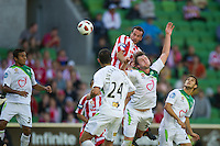 MELBOURNE, AUSTRALIA - January 2:  Rutger Worm of the Heart heads to score Heart's second goal during the round 21 A-League match between Melbourne Heart and North Queensland Fury at AAMI Park on January 2, 2011 in Melbourne, Australia. (Photo by Sydney Low / Asterisk Images)