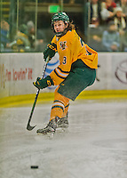 19 February 2016: University of Vermont Catamount Defenseman Mike Lee, a Freshman from Hamden, CT, in first period action against the Boston College Eagles at Gutterson Fieldhouse in Burlington, Vermont. The Eagles defeated the Catamounts 3-1 in the first game of their weekend series. Mandatory Credit: Ed Wolfstein Photo *** RAW (NEF) Image File Available ***