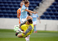 Sky Blue FC goalkeeper Jenni Branham (23) makes a great save in front of Red Stars midfielder Brittany Klein (6).  The Sky Blue FC defeated the Chicago Red Stars 2-0 at Toyota Park in Bridgeview, IL on May 10, 2009.