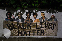 """UPDATE. Roma, 07/07/2020. Black Lives Matter's Graffiti. <br /> <br /> Roma, 05/06/2020. Today, two pieces of Street Art showing George Floyd were spotted in Via Stati Uniti d'America in the Villaggio Olimpico in Rome. The two Graffiti/Stencil/Posters - """"Justice For George Floyd"""" and """"The Passion Of George Floyd"""" - are made by the street Artist Harry Greb (1.).<br /> The killing of George Floyd was perpetrated on the 25th May 2020 by police officers in the streets of Minneapolis while Mr Floyd was in custody under a knee of a police officer (2.). An independent autopsy cited by the CNN says Mr Floyd died """"of asphyxiation from sustained pressure"""", while """"the medical examiner's office made no mention of asphyxiation"""" citing as the cause of the death """"cardiopulmonary arrest complicating law enforcement subdual, restraint, and neck compression"""" (3.). The killing of George Floyd has sparked numerous antiracist protests across the US and in the rest of the world.<br /> <br /> Footnotes & Links:<br /> 1. https://harrygrebdesign.com/<br /> 2. """"8 Minutes and 46 Seconds: How George Floyd Was Killed in Police Custody"""" (Video, Source: Nytimes.com): http://bit.do/fFR9Z<br /> 3. (Source, CNN.com) http://bit.do/fFSah<br /> Live updates by the CNN (Source, CNN.com): http://bit.do/fFTKS"""