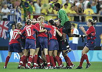 26 August 2004: USA Team celebrates after winning the Gold Medal game against Brazil at Karaiskakis Stadium in Athens, Greece.   Credit: Michael Pimentel / ISI.