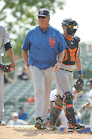 Binghamton Mets coach Glenn Abbott (55) during game against the Trenton Thunder at ARM & HAMMER Park on July 27, 2014 in Trenton, NJ.  Trenton defeated Binghamton 7-3.  (Tomasso DeRosa/Four Seam Images)