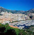 Monaco, Monte-Carlo: view over city and harbour | Monaco, Stadtteil Monte-Carlo: Stadtansicht