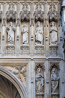 London, England.  Westminster Abbey, Figures Carved in Stone on Facade.