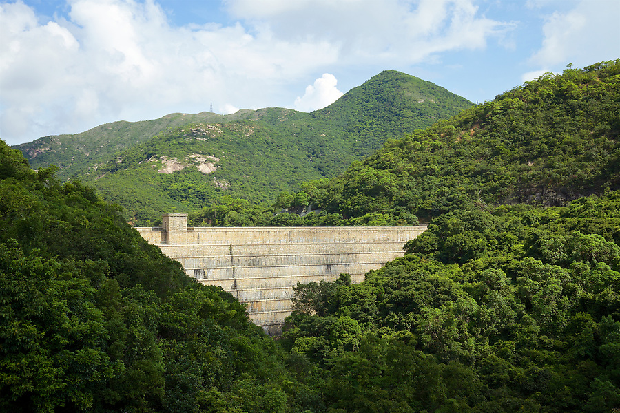 Dam wall and valve house of the Tai Tam Upper Reservoir (1883-88), Tai Tam Group of Reservoirs.<br /> <br /> Twenty-one structures (together with the Bowen Road aqueduct) make up he 88th Declared Monument on Hong Kong Island.