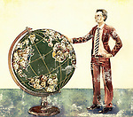 Illustrative image of business person standing near montage of people on globe depicting global networking