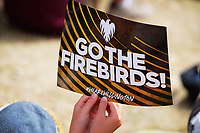 A fan with a Firebirds placard during the Dream11 Super Smash T20 men's cricket final between Wellington Firebirds and Canterbury Kings at the Basin Reserve in Wellington, New Zealand on Saturday, 13 February 2021. Photo: Dave Lintott / lintottphoto.co.nz