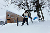 """Brother Bruno shoveling snow...The new Munkeby Mariakloster - kloster is Norwegian for monastery . The four founding French monks will establish their discrete presence as a contemplative monastery according to the Rule of Saint Benedict, written in the 6th century. Brother Joel (55) & Cîteaux's Prior, brothers Arnaud (31), Bruno (33) and Cyril (81), have all chosen to be part of the founding community, despite Norway's rude climate and winter darkness at latitude 63º N, not far from the arctic circle.Munkeby, the """"place of the monks"""" was the third and northernmost Norwegian monastery established by the Cistercians in the 12th century"""
