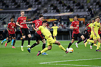 26th May 2021; STADION GDANSK  GDANSK, POLAND; UEFA EUROPA LEAGUE FINAL, Villarreal CF versus Manchester United:  Manchester United's VICTOR LINDELOF cannot stop the goal from GERARD MORENO for 1-0