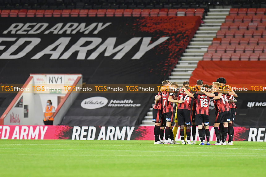 AFC Bournemouth players in a huddle before kick off during AFC Bournemouth vs Crystal Palace, Carabao Cup Football at the Vitality Stadium on 15th September 2020