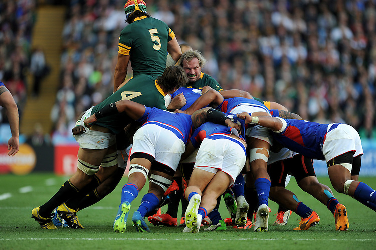 (L-R) Eben Etzebeth, Victor Matfield and Schalk Burger of South Africa are powerful to halt Samoa's drive despite winning the lineout during Match 15 of the Rugby World Cup 2015 between South Africa and Samoa - 26/09/2015 - Villa Park, Birmingham<br /> Mandatory Credit: Rob Munro/Stewart Communications