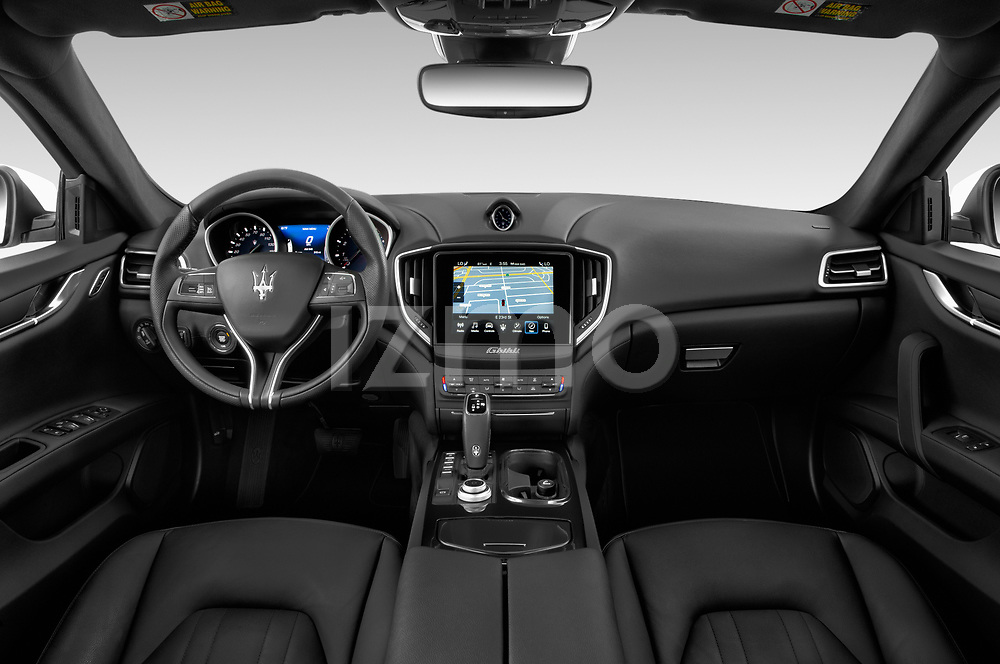 Stock photo of straight dashboard view of a 2020 Maserati Ghibil Base 4 Door Sedan
