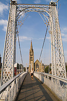 Walking Bridge and the Free Church of Scotland in Inverness Scotland.