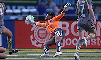 Philadelphia goalkeeper, Karina LeBlanc (23), stretches to deflect the ball away from goal. Atlanta and Philadelphia played to a 0-0 draw in the season opener for both teams at John A Farrell Stadium in West Chester, PA.