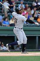First baseman Reymond Nunez (36) of the Charleston RiverDogs in a game against the Greenville Drive on Wednesday, June 11, 2014, at Fluor Field at the West End in Greenville, South Carolina. Greenville won, 6-3. (Tom Priddy/Four Seam Images)