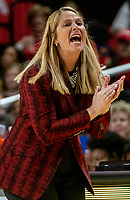 COLLEGE PARK, MD - DECEMBER 28: Brenda Frese head coach of Maryland cheers on her team. during a game between University of Michigan and University of Maryland at Xfinity Center on December 28, 2019 in College Park, Maryland.