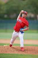 GCL Phillies East relief pitcher Hsin-Chieh Lin (72) delivers a pitch during a game against the GCL Blue Jays on August 10, 2018 at Carpenter Complex in Clearwater, Florida.  GCL Blue Jays defeated GCL Phillies East 8-3.  (Mike Janes/Four Seam Images)
