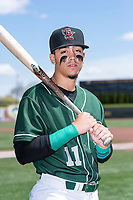 Great Lakes Loons infielder Miguel Vargas (11) poses for a photo before a Midwest League game against the Wisconsin Timber Rattlers at Dow Diamond on May 4, 2019 in Midland, Michigan. (Zachary Lucy/Four Seam Images)