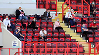 Social distancing rules in place in the main stand for people allowed to watch the match. Masks were worn as well during Charlton Athletic vs Wigan Athletic, Sky Bet EFL Championship Football at The Valley on 18th July 2020