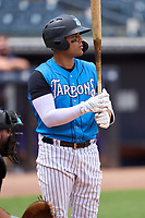 Tampa Tarpons Carlos Narvaez (5) bats during a game against the Fort Myers Mighty Mussels on May 23, 2021 at George M. Steinbrenner Field in Tampa, Florida.  (Mike Janes/Four Seam Images)