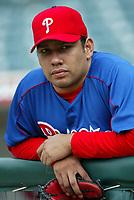 Jose Silva of the Philadelphia Phillies during a 2003 season MLB game at Angel Stadium in Anaheim, California. (Larry Goren/Four Seam Images)