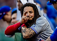 22 June 2019: Toronto Blue Jays shortstop Freddy Galvis looks out from the dugout in the 8th inning against the Boston Red Sox at Fenway :Park in Boston, MA. The Blue Jays rallied to defeat the Red Sox 8-7 in the 2nd game of their 3-game series. Mandatory Credit: Ed Wolfstein Photo *** RAW (NEF) Image File Available ***