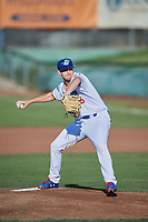 Ogden Raptors starting pitcher Brett De Geus (36) delivers a pitch to the plate against the Helena Brewers at Lindquist Field on July 14, 2018 in Ogden, Utah. Ogden defeated Helena 8-6. (Stephen Smith/Four Seam Images)