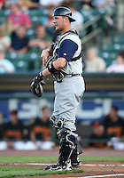 Charlotte Knights Catcher Tyler Flowers during a game vs. the Rochester Red Wings at Frontier Field in Rochester, New York;  June 17, 2010.   Charlotte defeated Rochester by the score of 9-2.  Photo By Mike Janes/Four Seam Images