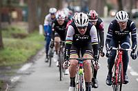 Team Trek-Segafredo, including World Champion Mads Pedersen (DEN/Trek-Segafredo), setting the race pace in the front group for team leader Jasper Stuyven (BEL/Trek-Segafredo)<br /> <br /> 75th Omloop Het Nieuwsblad 2020 (1.UWT)<br /> Gent to Ninove (BEL): 200km<br /> <br /> ©kramon