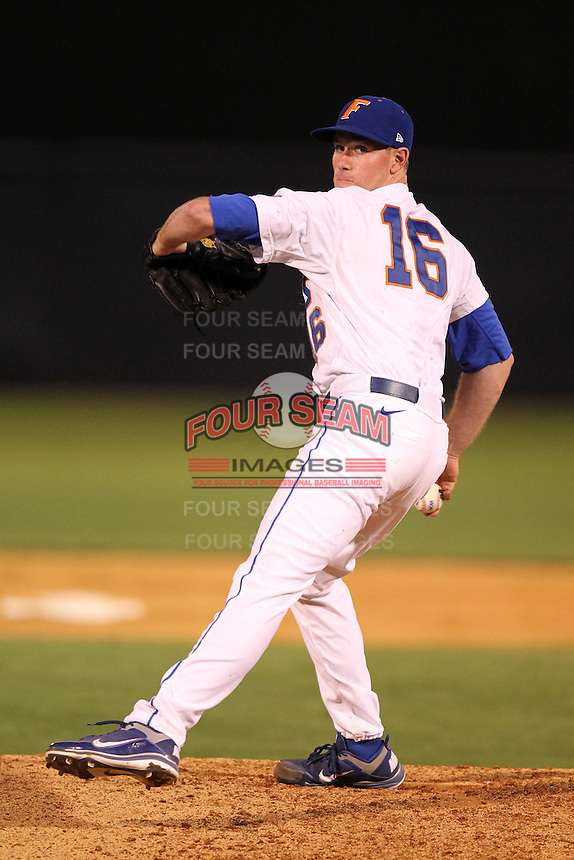 """Florida Gators Anthony DeSciafani #16 during a game vs. the Florida State Seminoles in the """"Florida Four"""" at George M. Steinbrenner Field in Tampa, Florida;  March 1, 2011.  Florida State defeated Florida 5-3.  Photo By Mike Janes/Four Seam Images"""