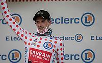 polka dot jersey / KOM leader Wout Poels (NED/Bahrain - Victorious) on the podium at the finish up the Col du Portet (HC/2215m)<br />  <br /> Stage 17 from Muret to Saint-Lary-Soulan (Col du Portet)(178km)<br /> 108th Tour de France 2021 (2.UWT)<br /> <br /> ©kramon