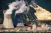 France. Rhone Valley.  Nuclear power station at Cruas on the River Rhone.